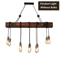 Wedlies Farmhouse Style Dark Distressed Wood Beam Large Linear Island Pendant Light 10-Light Chandelier Lighting Hanging Ceiling Fixture 35'' 110V(Blub not included)