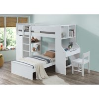 ACME Ragna Twin Loft Bed with Desk and Wardrobe in White