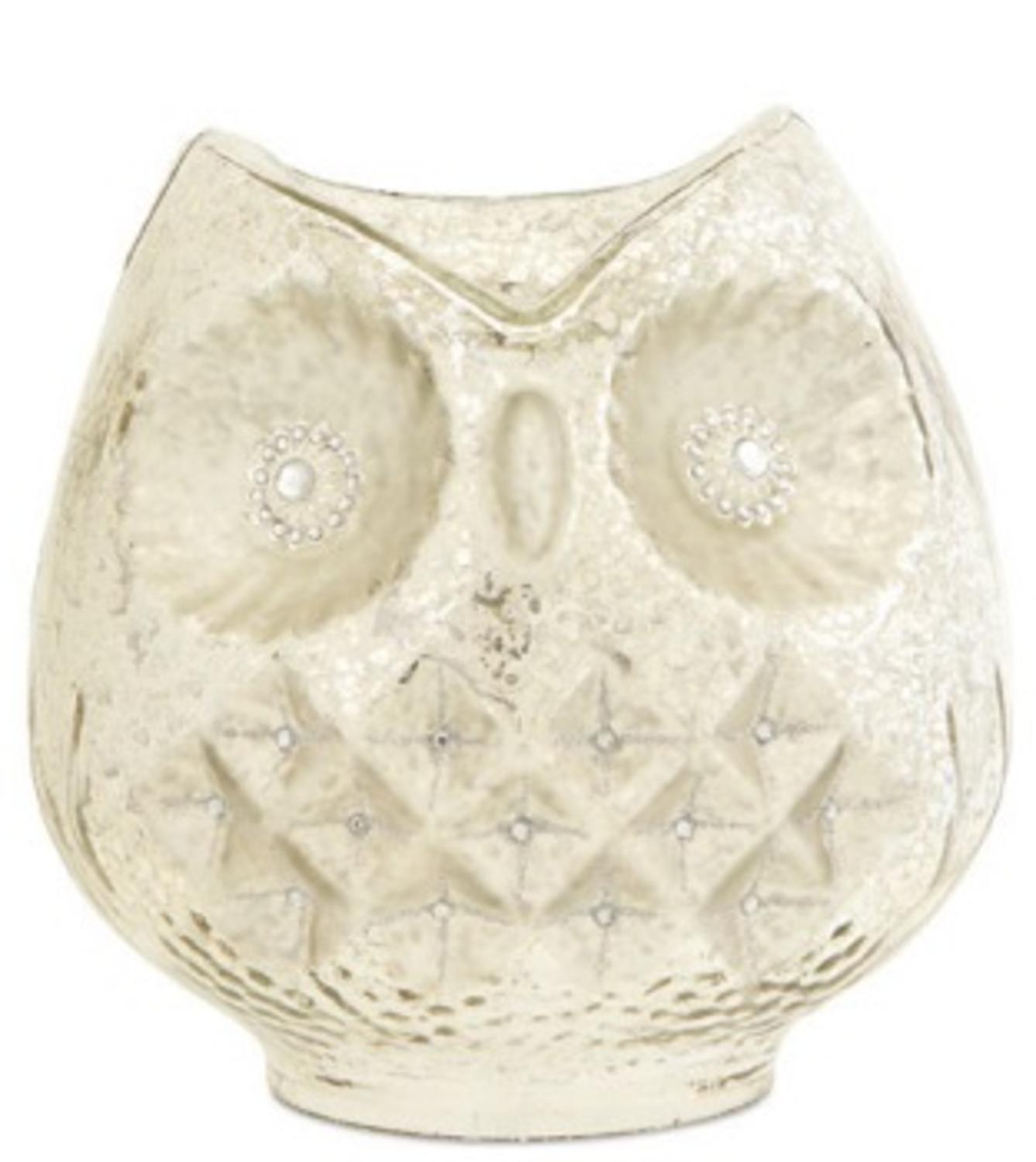 "8"" White and Silver Woodland Creature Mercury Glass Owl Bird Pillar Candle Holder"