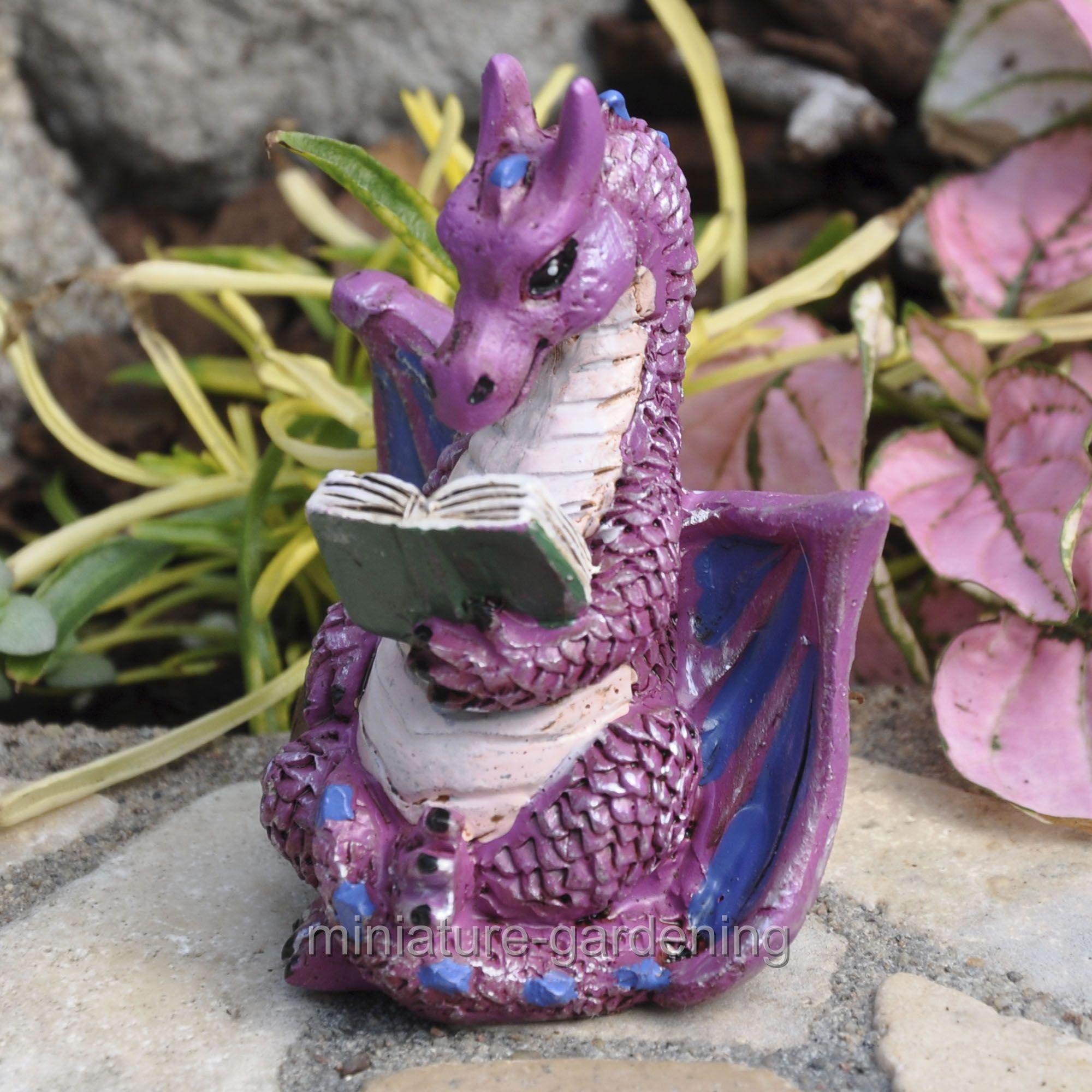 Miniature Reading Dragon for Miniature Garden, Fairy Garden