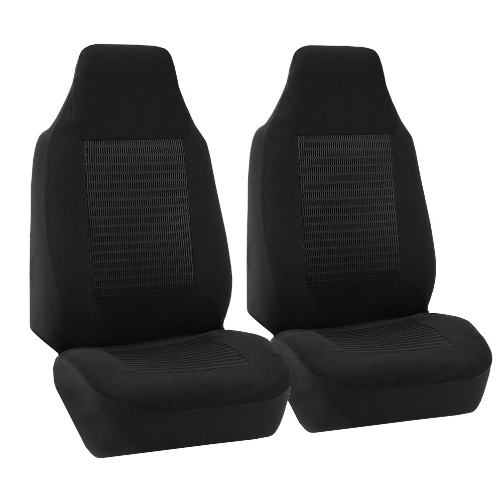 FH Group Premium Fabric Front High Back Car Truck SUV Bucket Seat Cover Airbag Compatible, Pair, Black
