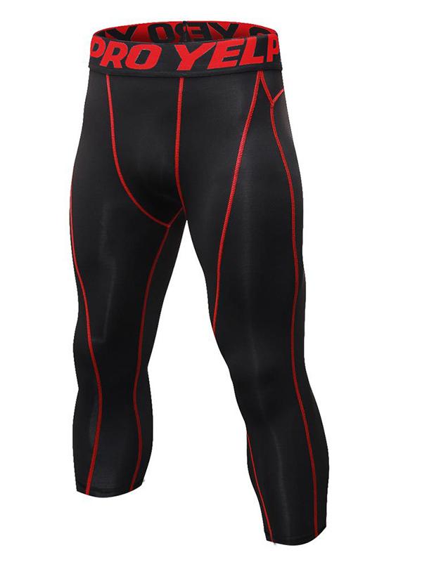 Men Gym Sport Thermal Tight Compression Base Layer Pants 3/4 Leggings Trousers