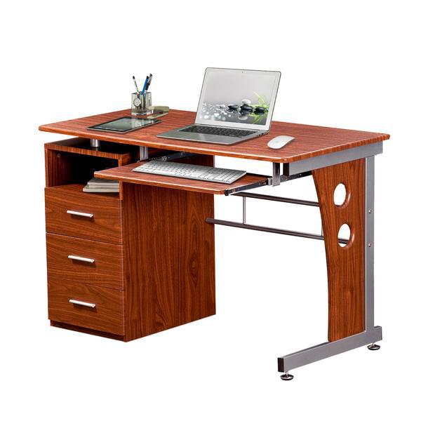 Techni Mobili Computer Desk with Ample Storage, Mahogany