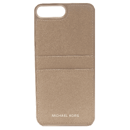 633290162e36b4 Michael Kors Saffiano Leather Pocket Case w ID Holder for iPhone 8 Plus/7  Plus - Rose Gold - Walmart.com