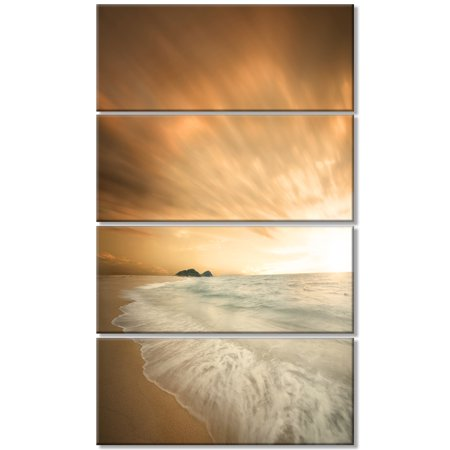 Beautiful Brown Beach at Sunset - Large Beach Canvas Wall Art - image 1 de 3