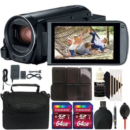 Canon VIXIA HF R800 HD Camcorder Black with 128GB Memory Card and Accessory Kit