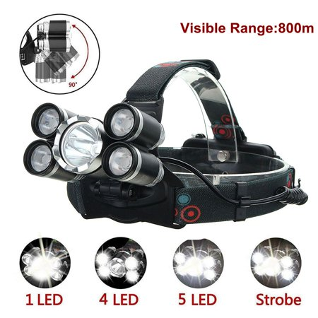 5000 Lumens T6 LED Headlamp Headlight Flashlight Rechargeable Waterproof 4 Modes Super Bright Torch for Camping Running Hiking Night Fishing (Not included battery and (Best Led Head Torch)