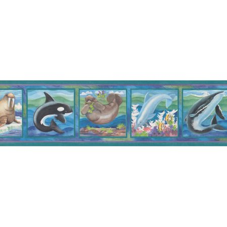 Zoomie Kids Arehart Dolphin Walrus Shark Whale on Pictures Wall (Whale Wall Border)