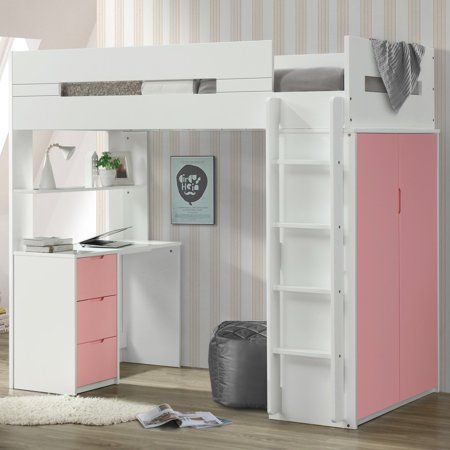 Twin Loft Bed.Acme Nerice Twin Loft Bed With Desk And Wardrobe In White Multiple Colors