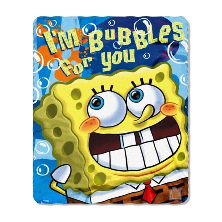 "Fleece Throw - Spongebob - Bubble Trouble 50x60"" New Blanket"