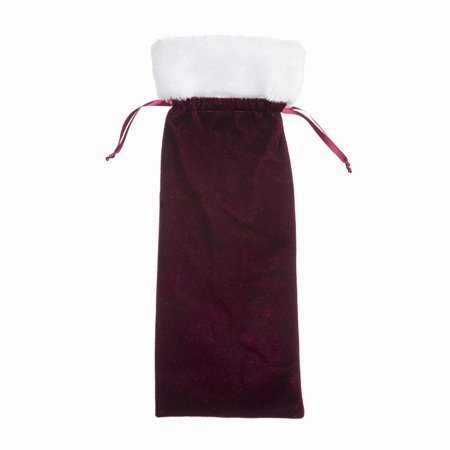 Darice Velvet Wine Bag: Burgundy, 5.5 x 14.5 inches - Wine Bag