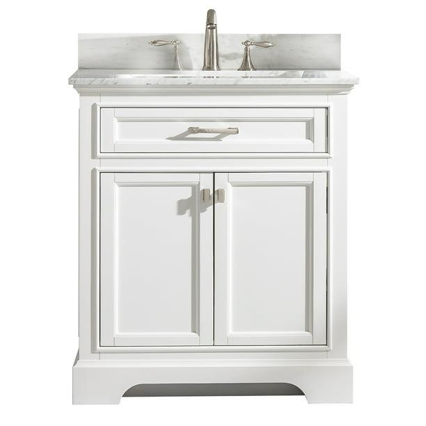 Design Element Milano 30 Single Sink Bathroom Vanity With Carrara Marble And Sink Walmart Com Walmart Com