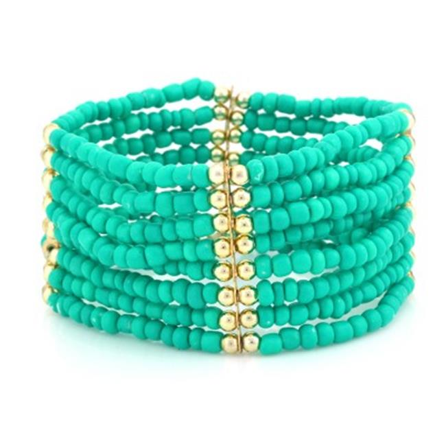 C Jewelry Turquoise And Gold Beaded Stretch Bracelet