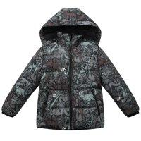 Richie House Baby Boys Brown Dinosaur Print Hood Padded Jacket 12M