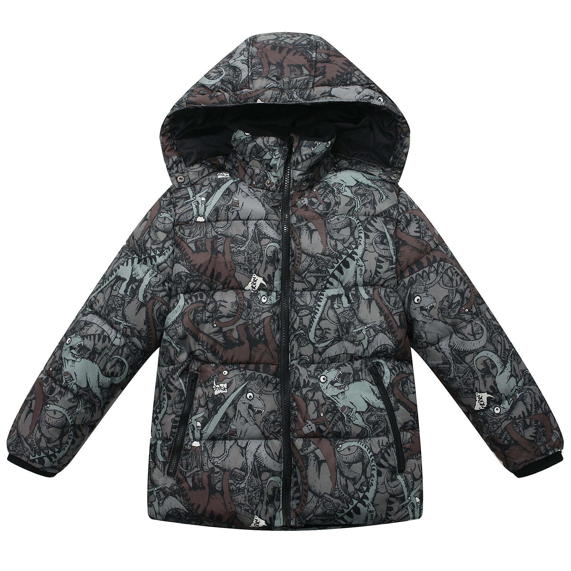 Richie House Baby Boys Brown Dinosaur Print Hood Padded Jacket 12M