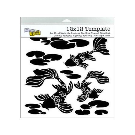 The Crafters Workshop Stencil 12x12 Koi Pond (Koi Stencil)