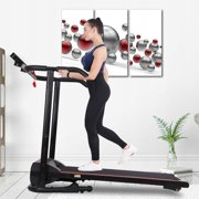 1100W Folding Treadmill With Device Holder, Shock Absorption And Incline
