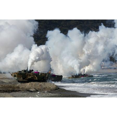 Korean amphibious assault vehicles land on Dogu Beach South Korea Poster Print by Stocktrek