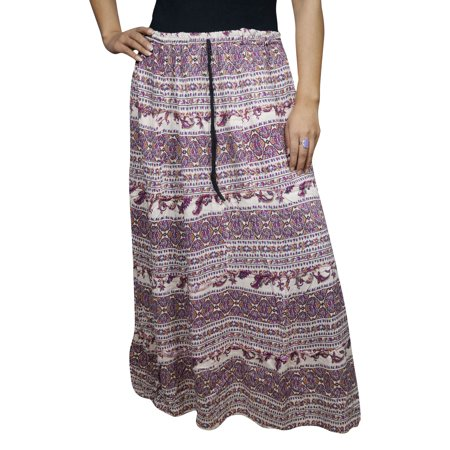 Gypsy Maxi - Mogul A-Line Maxi Skirt Purple White Printed Comfy Cotton Blend Bohemian Gypsy Hippie Chic Ethnic Long Skirts