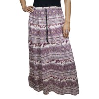 Mogul A-Line Maxi Skirt Purple White Printed Comfy Cotton Blend Bohemian Gypsy Hippie Chic Ethnic Long Skirts