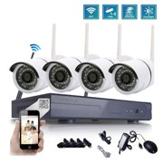 Zimtown 4CH 720P WIFI 1.0 MP IR Outdoor P2P Home Camera Security System (Hard Drive NO Include)