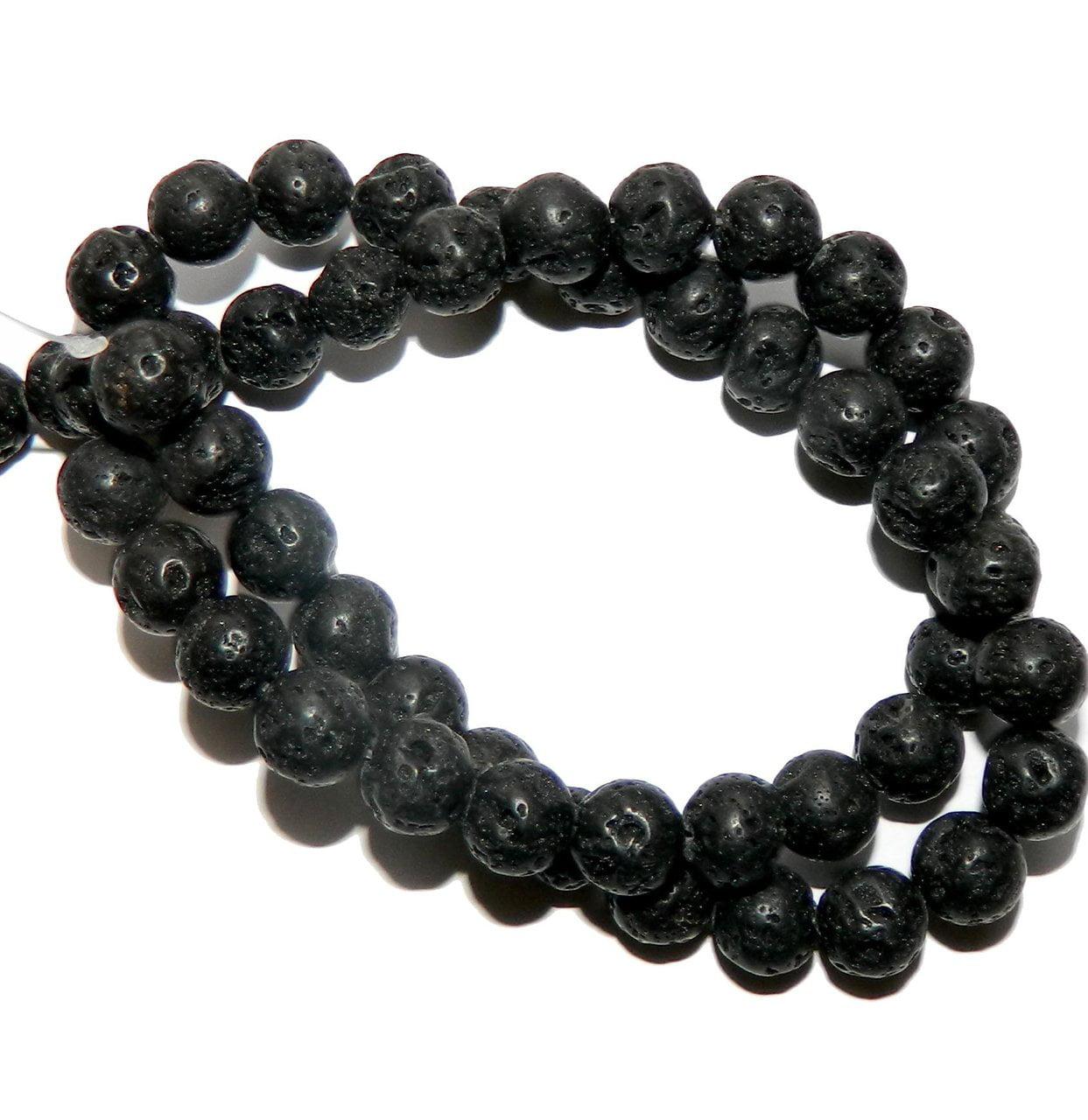Black Volcanic Lava Beads 20mm Round Gemstone 15 Inch Strand