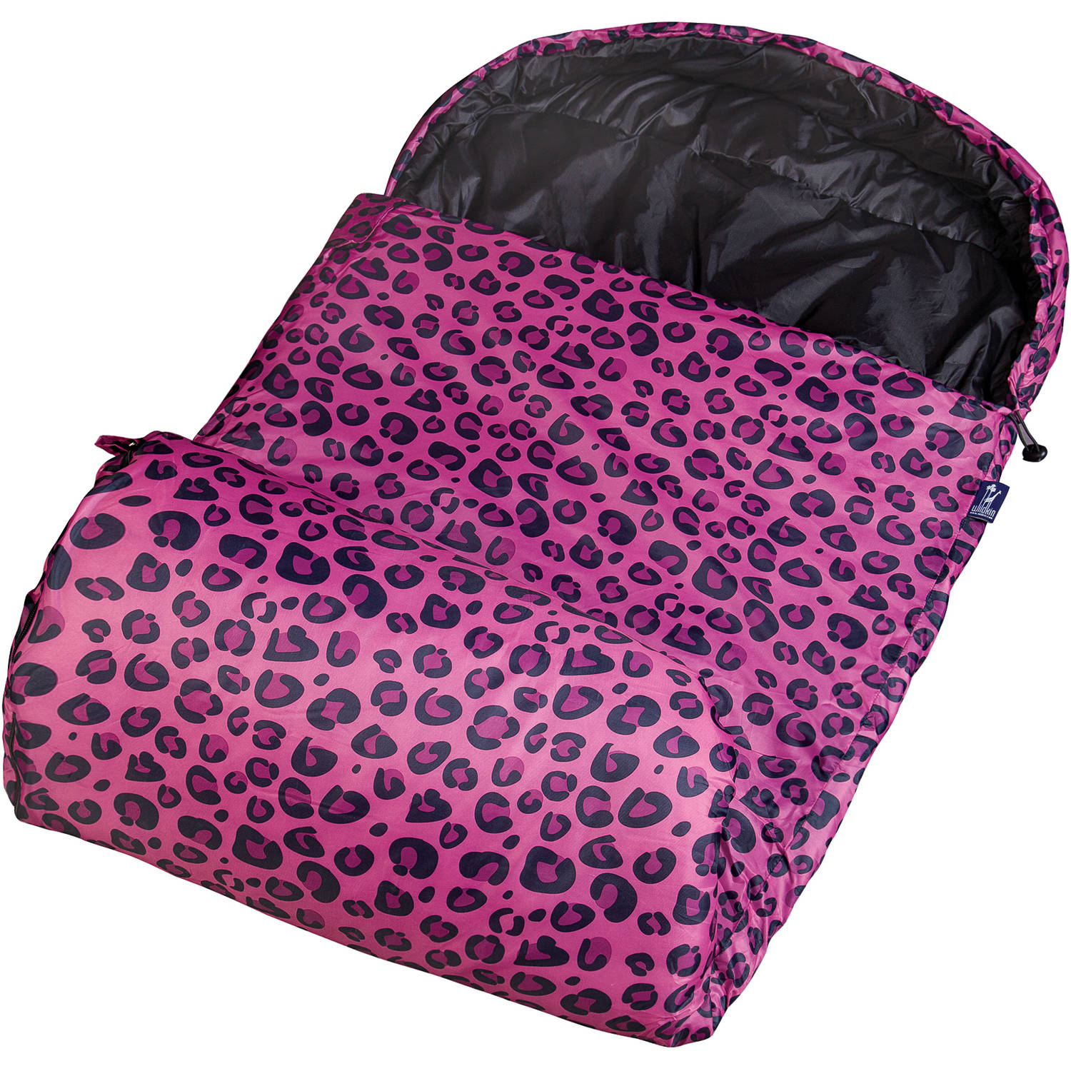 Wildkin Stay Warm 30-Degree Kids' Sleeping Bag, Pink Leopard