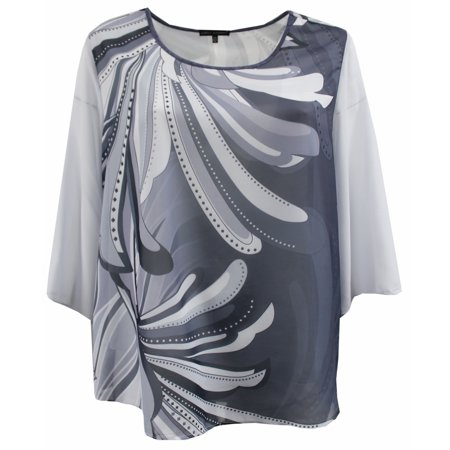 Abstract Blouse - Plus Size Women Two Tone Color Chiffon Abstract Blouse Tee T Shirt Knit Top Grey Charcoal 1X (17024)