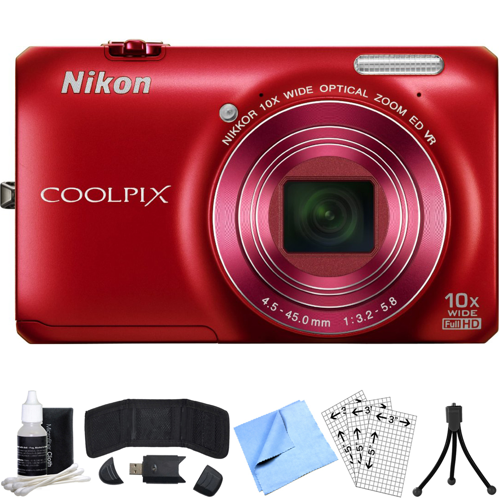 Nikon COOLPIX S6300 16MP Digital Camera w/ 10x Optical Zoom Refurbished Bundle includes Card Reader, Mini Tripod, Screen Protectors, 3 Piece Cleaning Kit, Memory Card Wallet and Beach Camera Cloth