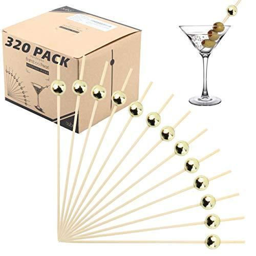 Bamboo Cocktail Picks Skewers Toothpicks - 320 Pack Gold Pearl 4.75 inch Wooden Frill Tooth Picks for Appetizer Martini Food Garnish Cocktail Sandwich Fruit Kabobs - Fruit Kabobs Halloween