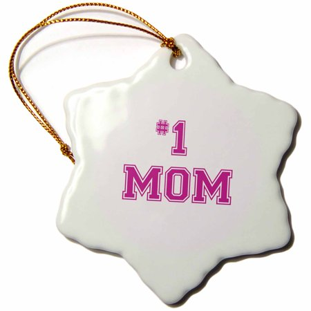 3dRose #1 Mom - Number One Mom in hot pink large print text - for worlds greatest and best Mothers day - Snowflake Ornament,