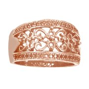 Round Yellow Natural Diamond Engagement Wedding Dome Band Ring 14K Solid Rose Gold (0.62 Cttw) By Je