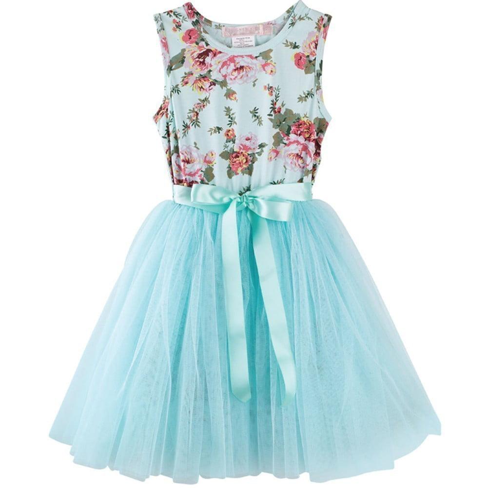 Designer Kidz Girls Aqua Floral Print Mesh Tutu Easter Dress