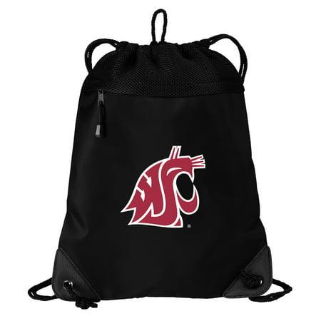 Washington State University Drawstring Bag TWO SECTION Washington State Cinch Pack Backpack - Unique Mesh & Microfiber