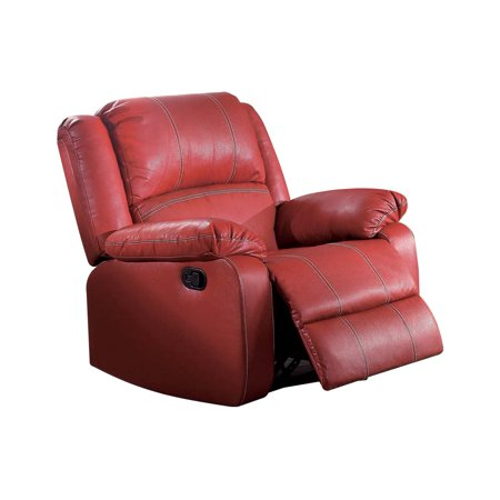 - ACME Zuriel Wooden Frame Rocker Recliner in Red Faux Leather