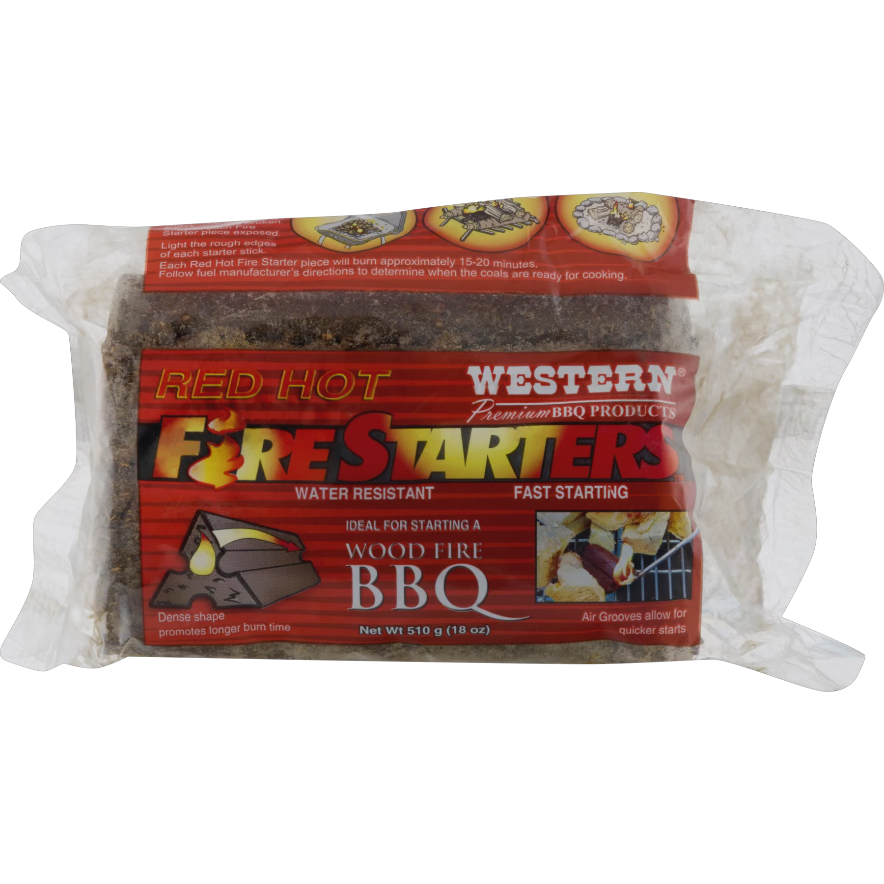 Western Premium BBQ Products Red Hot Fire Starters 4-pk by W W Wood, Inc.