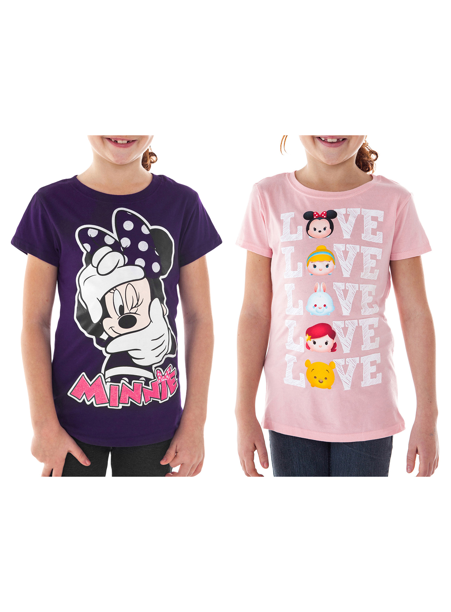 Girls Disney Tsum Tsum & Minnie Mouse  T-Shirts 2-PACK