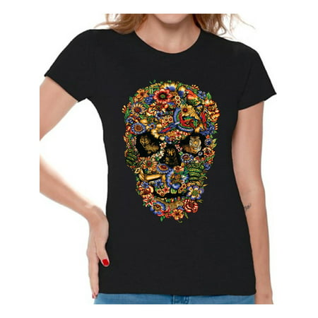 Awkward Styles Fauna Skull Tshirt for Women Floral Skull Shirt Sugar Skull Shirts for Women Dia de los Muertos Gifts for Her Day of the Dead T Shirt Sugar Skull Flowers T-Shirt for Women Skull Gifts (Sugar Skull Happy Birthday)