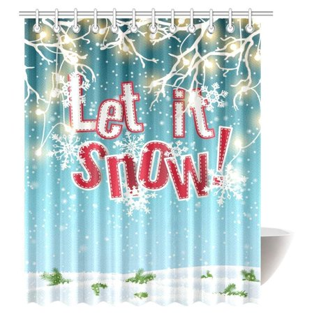 GCKG Let It Snow Shower Curtain, Electric Lights and Snow Abstract Sky and Clouds Fabric Bathroom Shower Curtain Set with Hooks, 66x72 Inches - image 2 de 2