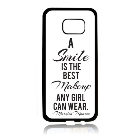 Smile is the Best Makeup Quote Black Rubber Thin Cover for the Samsung Galaxy s6 Edge - Samsung Galaxy s6 Edge Accessories - Galaxy s6 Edge Case - s6 Edge TPU