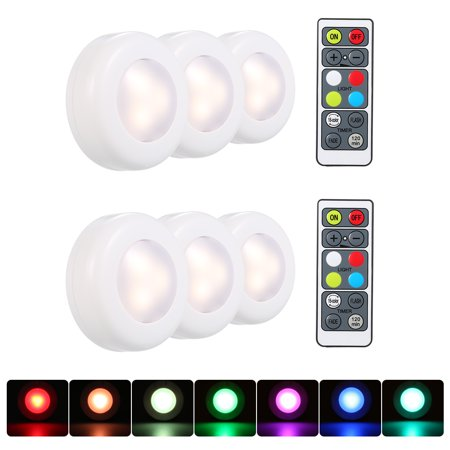 RGB LED Under Cabinet Lamp Puck Light 6 Pack with Remote Control Brightness Adjustable Dimmable Timing Supported 16 Colors Automatic Changing/ Flash/ Fade 3 Lighting Modes Battery Operated Powered for Battery Operated Puck Lights