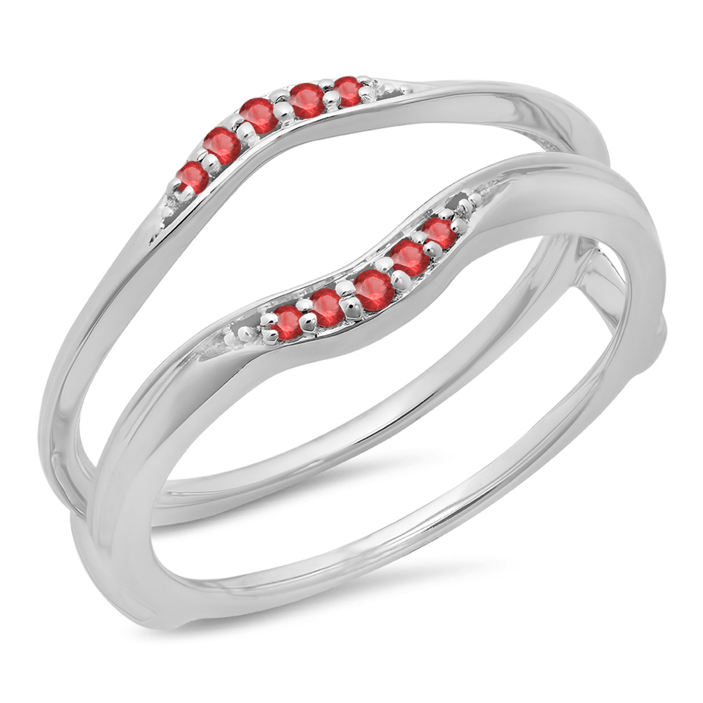 0.10 Carat (ctw) 14K White Gold Round Ruby Ladies Anniversary Wedding Band Guard Double Ring 1/10 CT