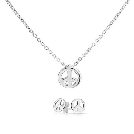 Tiny Minimalist Simple World Peace Sign Pendant Necklace Earring Jewelry Set For Teen For Women 925 Sterling Silver ()