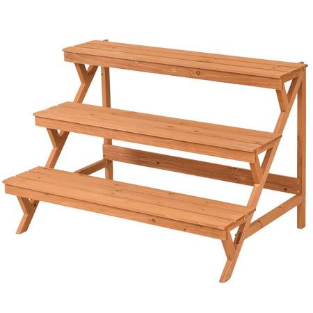 3 Tier Wood Plant Stand Flower Pot Holder Shelf Display Rack Step Ladder Image