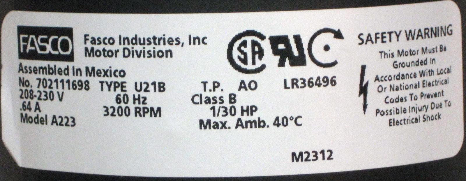York (026-33999-001, 7021-9656, 7021-10096) Furnace Draft Inducer Fasco #  A223
