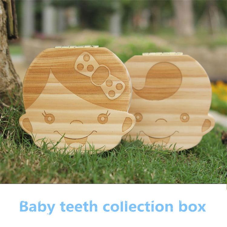 Wood Boy Girl Kids Storage Fairy Case Baby Tooth Box Organizer Save Milk Teeth