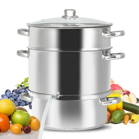 Wood Stove Steamer - Gymax 11-Quart Stainless Steel Fruit Juicer Steamer Stove Top w/ Tempered Glass Lid