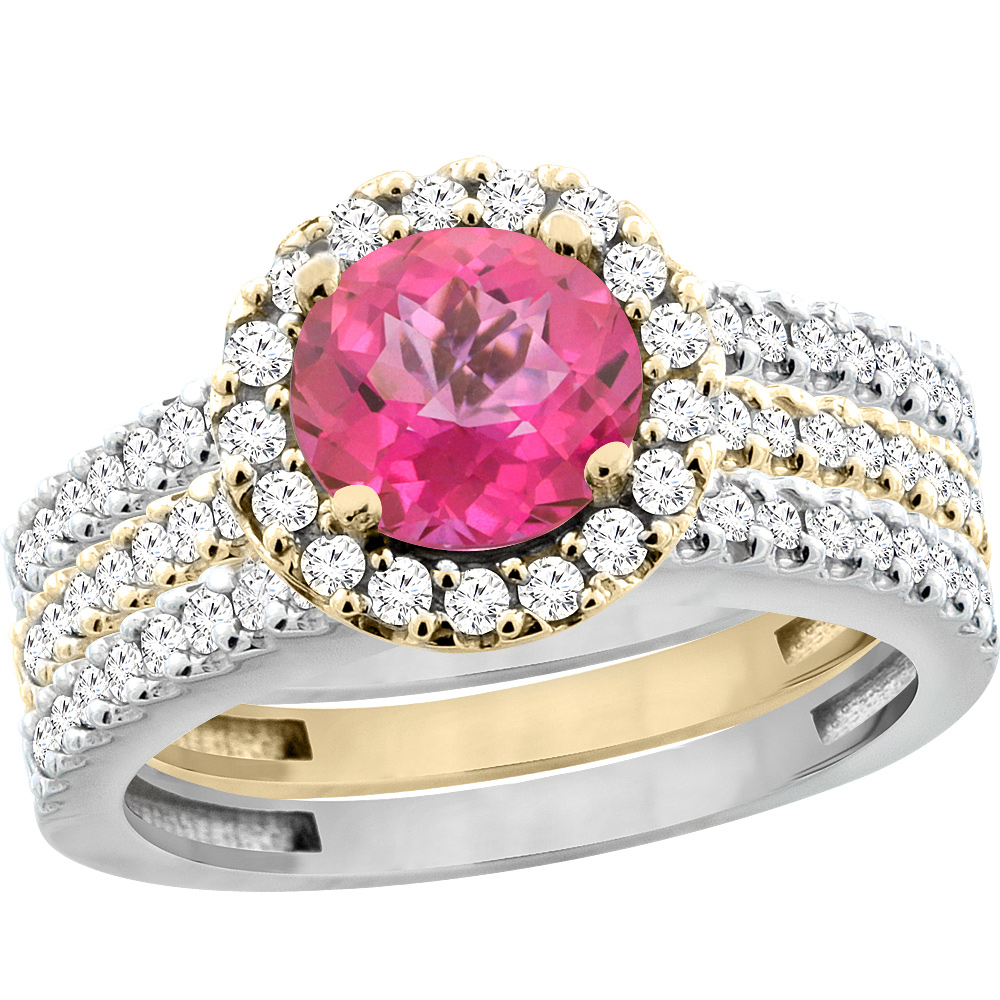 10K Gold Natural Pink Topaz 3-Piece Ring Set Two-tone Round 6mm Halo Diamond, size 6 by Gabriella Gold
