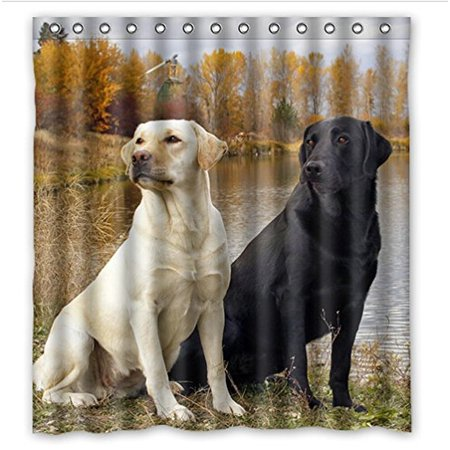 Retriever School Bathroom Accessories - GreenDecor Lovely Labrador Retriever Dogs Waterproof Shower Curtain Set with Hooks Bathroom Accessories Size 60x72 inches