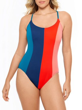 Time and Tru Women's Solid Colorblocked One Piece Swimsuit